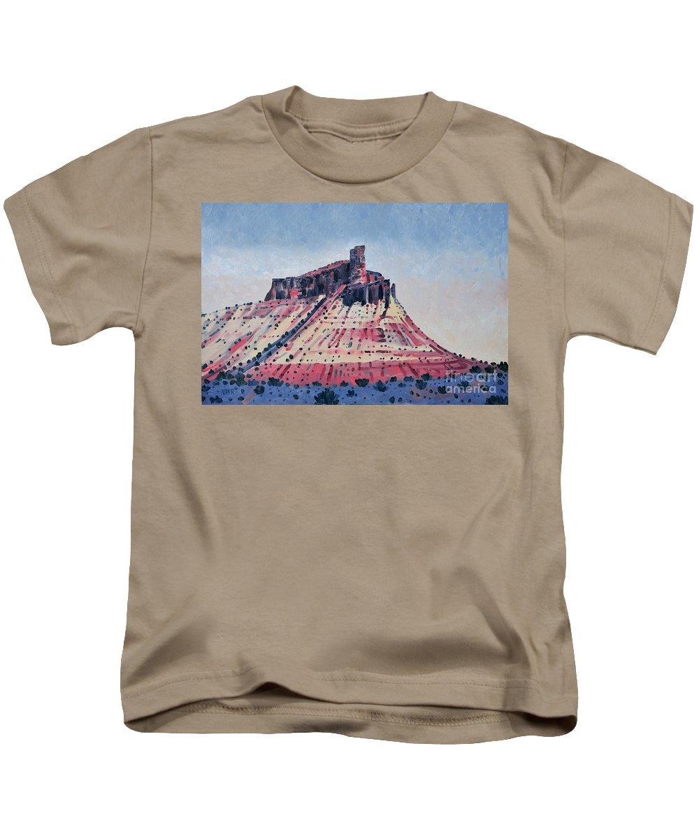 Oil Painting Kids T-Shirt featuring the painting Chimney Rock by Donald Maier