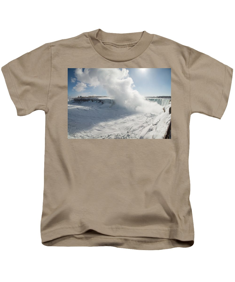 Winter Kids T-Shirt featuring the photograph Frozen Niagara Falls by Ted Kinsman