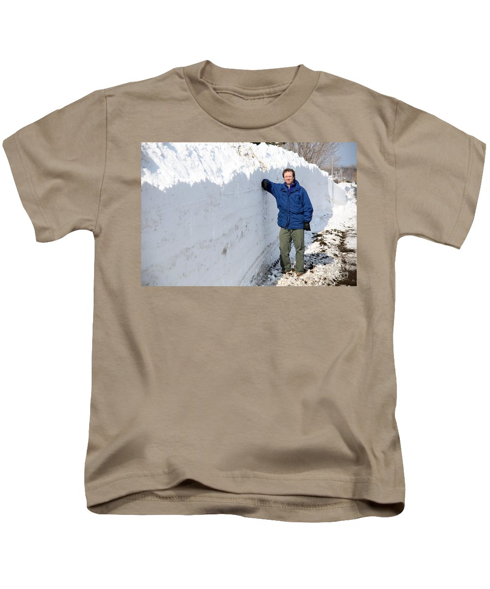 Snowstorm Kids T-Shirt featuring the photograph Snow By The Roadside by Ted Kinsman