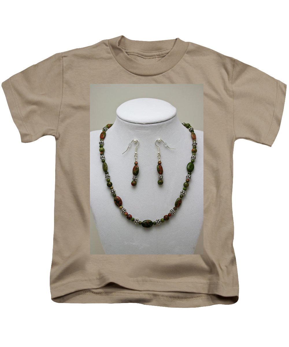 Handmade Kids T-Shirt featuring the jewelry 3525 Unakite Necklace And Earring Set by Teresa Mucha