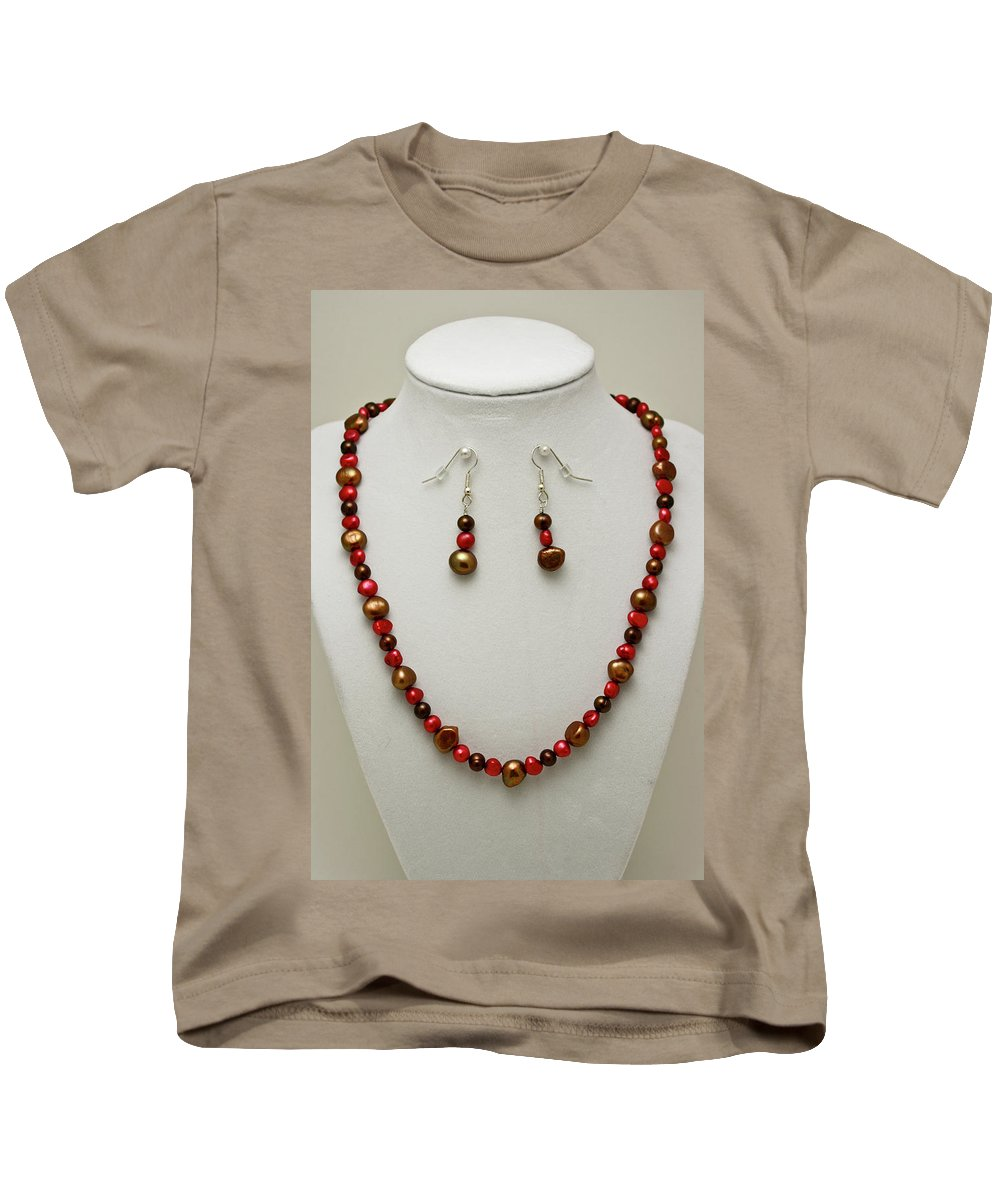 Handmade Kids T-Shirt featuring the jewelry 3536 Freshwater Pearl Necklace And Earring Set by Teresa Mucha