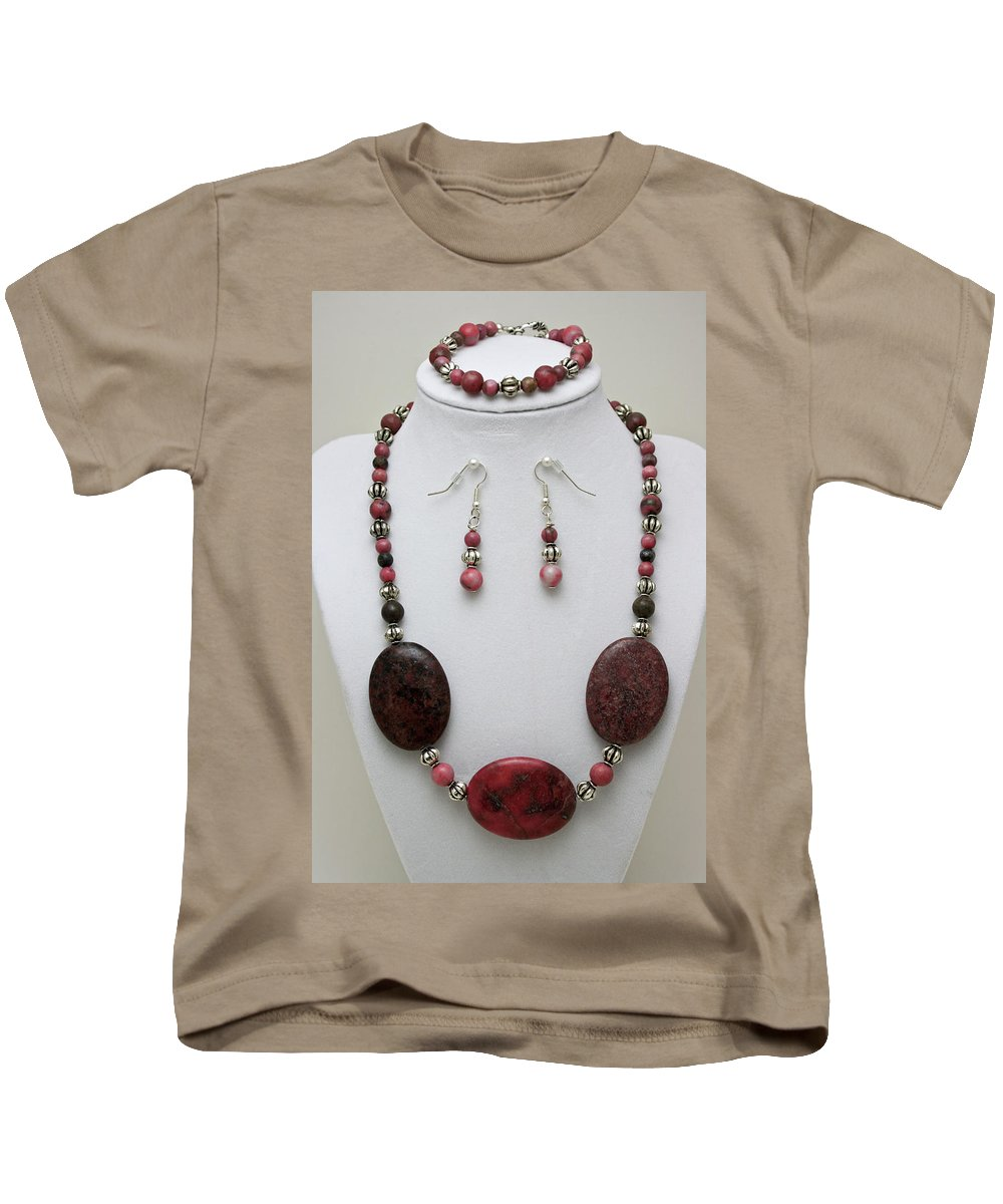 Handmade Kids T-Shirt featuring the jewelry 3544 Rhodonite Necklace Bracelet And Earring Set by Teresa Mucha