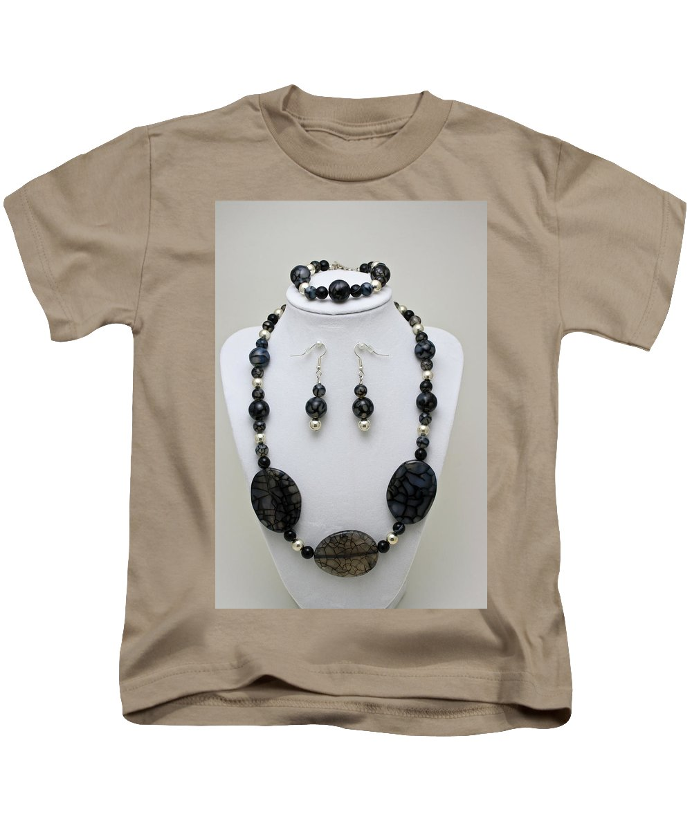 Handmade Kids T-Shirt featuring the jewelry 3548 Cracked Agate Necklace Bracelet And Earrings Set by Teresa Mucha
