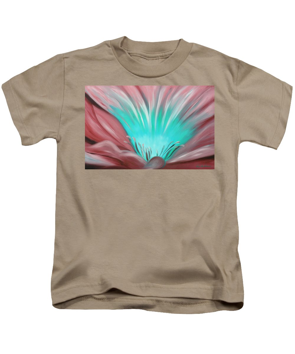 Flowers Kids T-Shirt featuring the painting From The Heart Of A Flower by Gina De Gorna