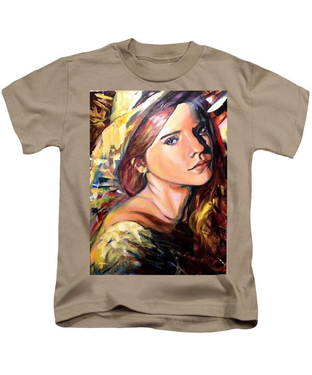 Kids T-Shirt featuring the painting Girl by Niti Is a painter