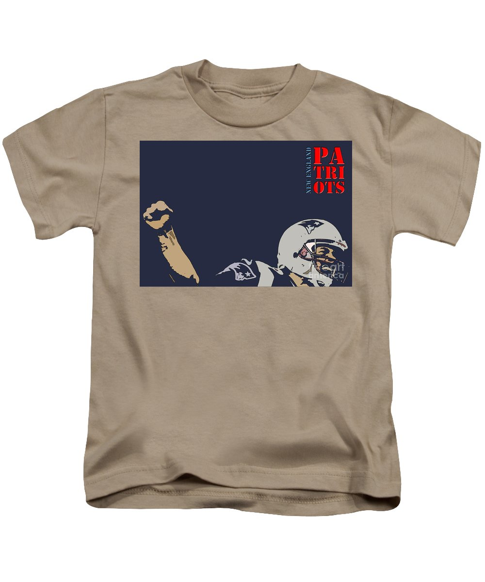 New England Kids T-Shirt featuring the painting New England Patriots Original Typography Football Team by Drawspots Illustrations