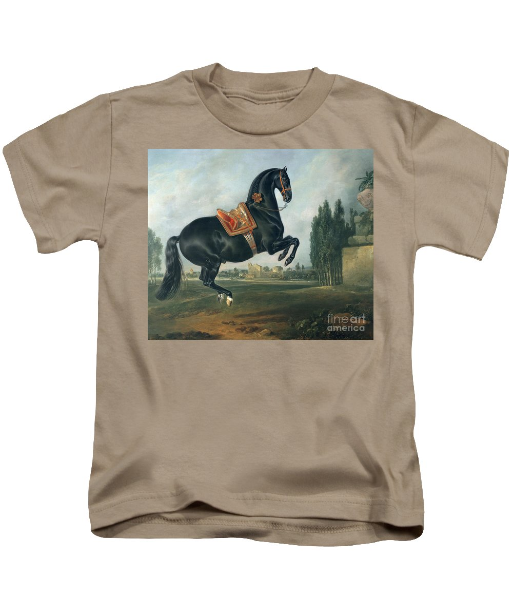 Black Kids T-Shirt featuring the painting A Black Horse Performing The Courbette by Johann Georg Hamilton