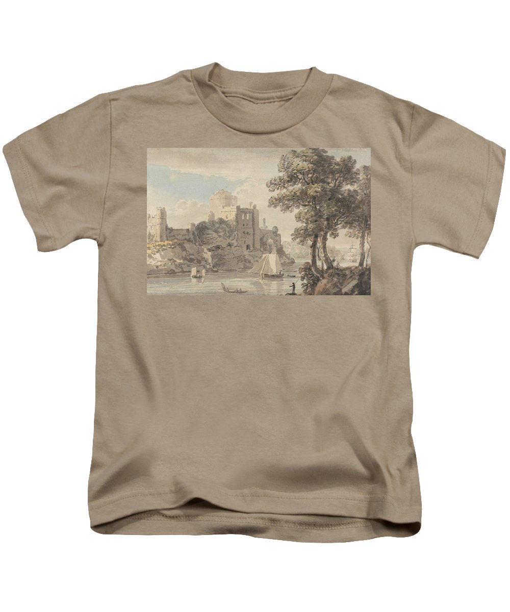 Paul Sandby Kids T-Shirt featuring the painting A Castle On A River by Paul Sandby