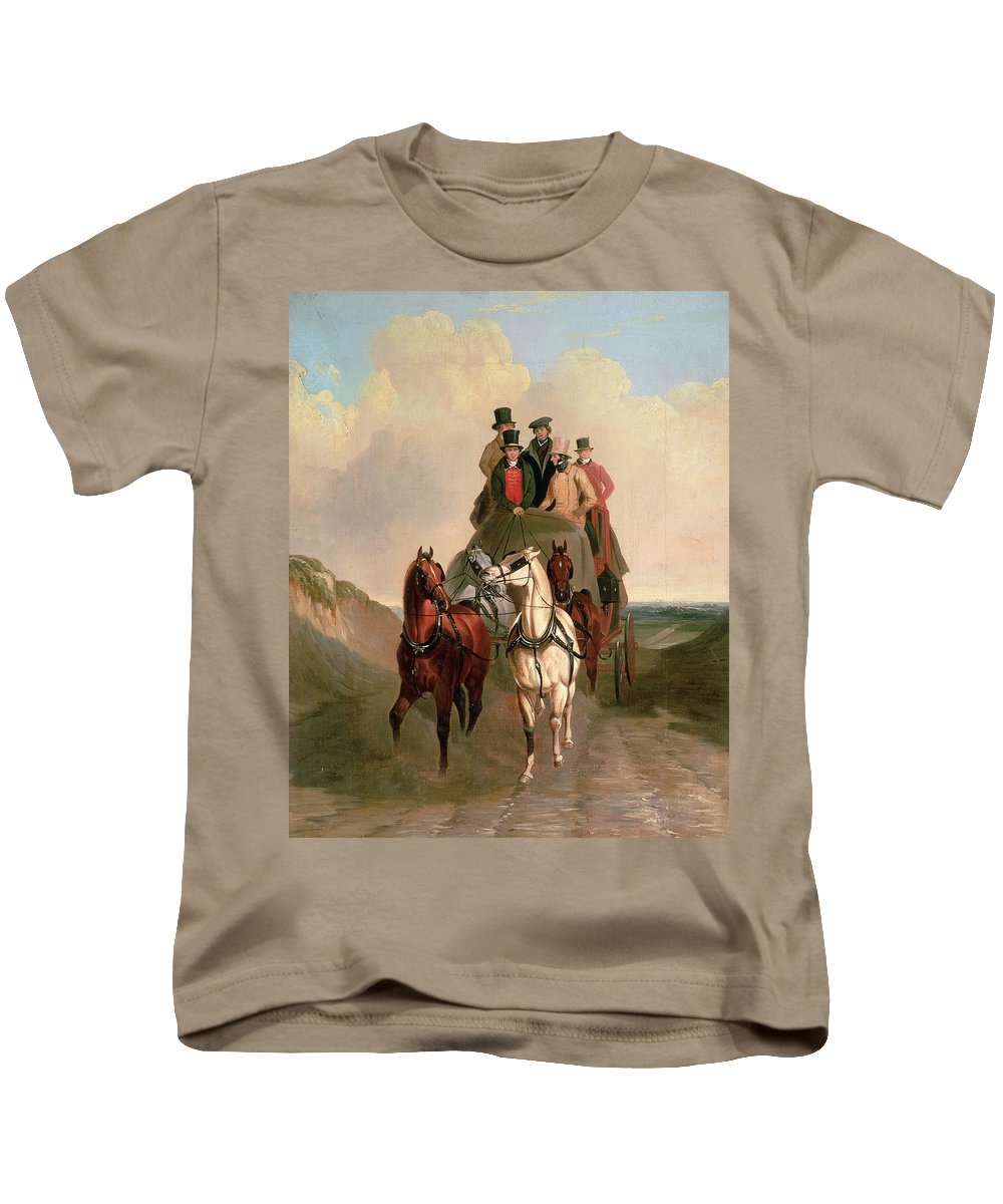 Bal15225 Kids T-Shirt featuring the painting A Coach And Four On An Open Road by William Snr Shayer