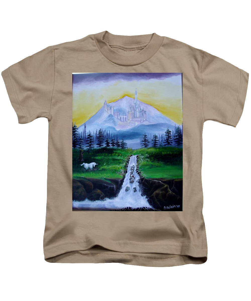 Landscape Kids T-Shirt featuring the painting A Fairytale by Glory Fraulein Wolfe