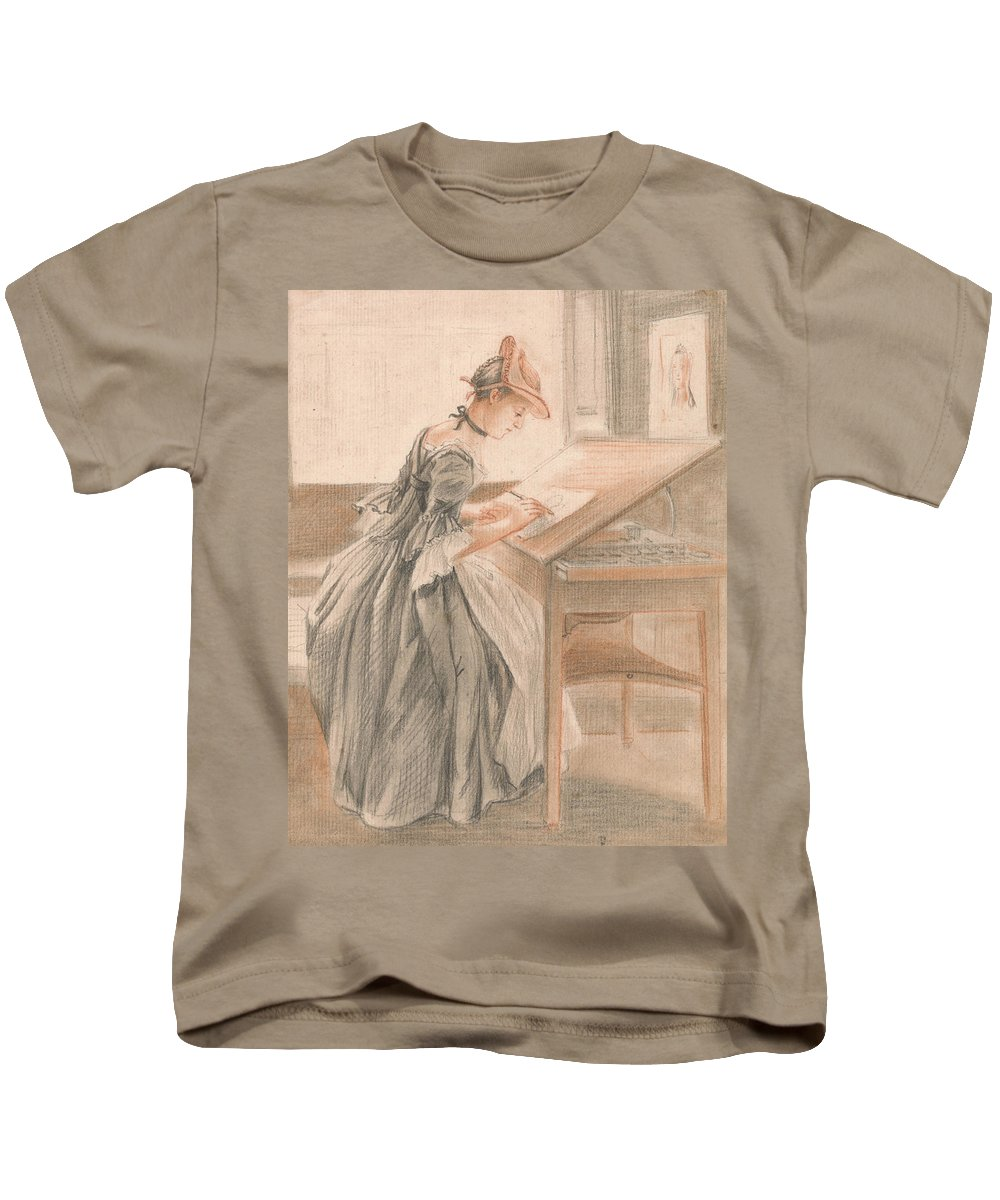 Paul Sandby Kids T-Shirt featuring the drawing A Lady Copying At A Drawing Table by Paul Sandby