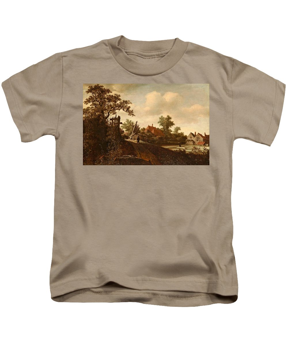 Roelof Jansz. Van Vries (haarlem 1630 - Amsterdam After 1681) Kids T-Shirt featuring the painting A Landscape With A Figure On A Path And A Bleaching by Roelof Jansz