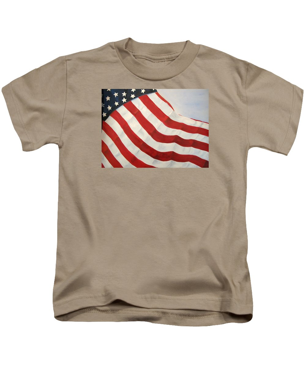 Flag Kids T-Shirt featuring the painting A Little Glory by Carol Sweetwood