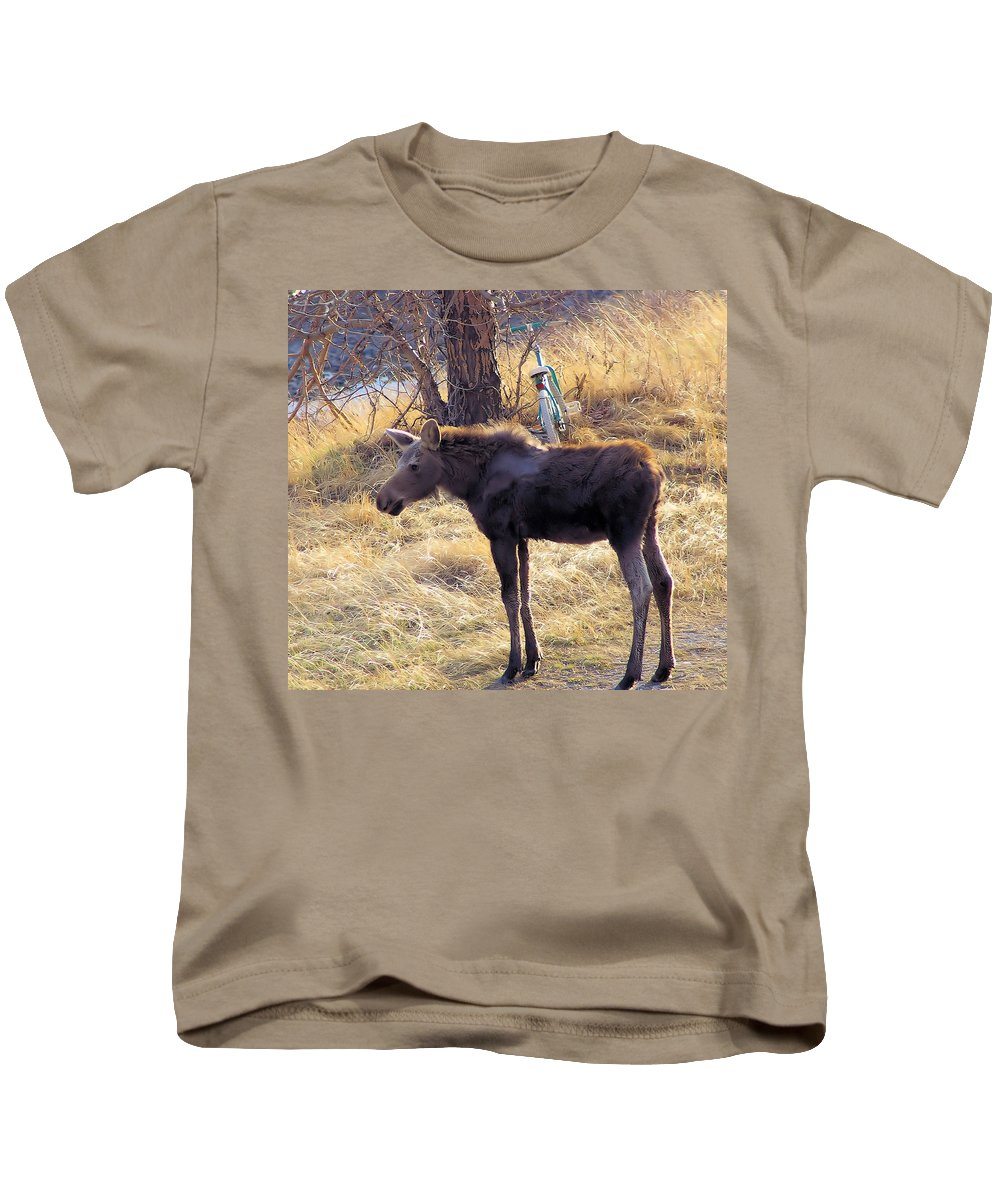 Wildlife Kids T-Shirt featuring the photograph A Moose In Early Spring by Jeff Swan