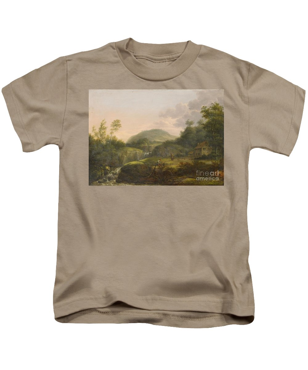 Jacob Manskirsch Kids T-Shirt featuring the painting A Pair Of Mountain Landscapes With Staffage by MotionAge Designs