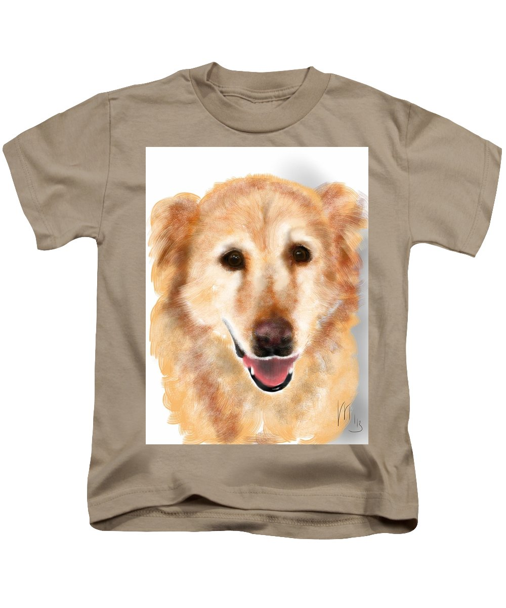 Animals Kids T-Shirt featuring the painting A Shadow Behind The Golden by Lois Ivancin Tavaf