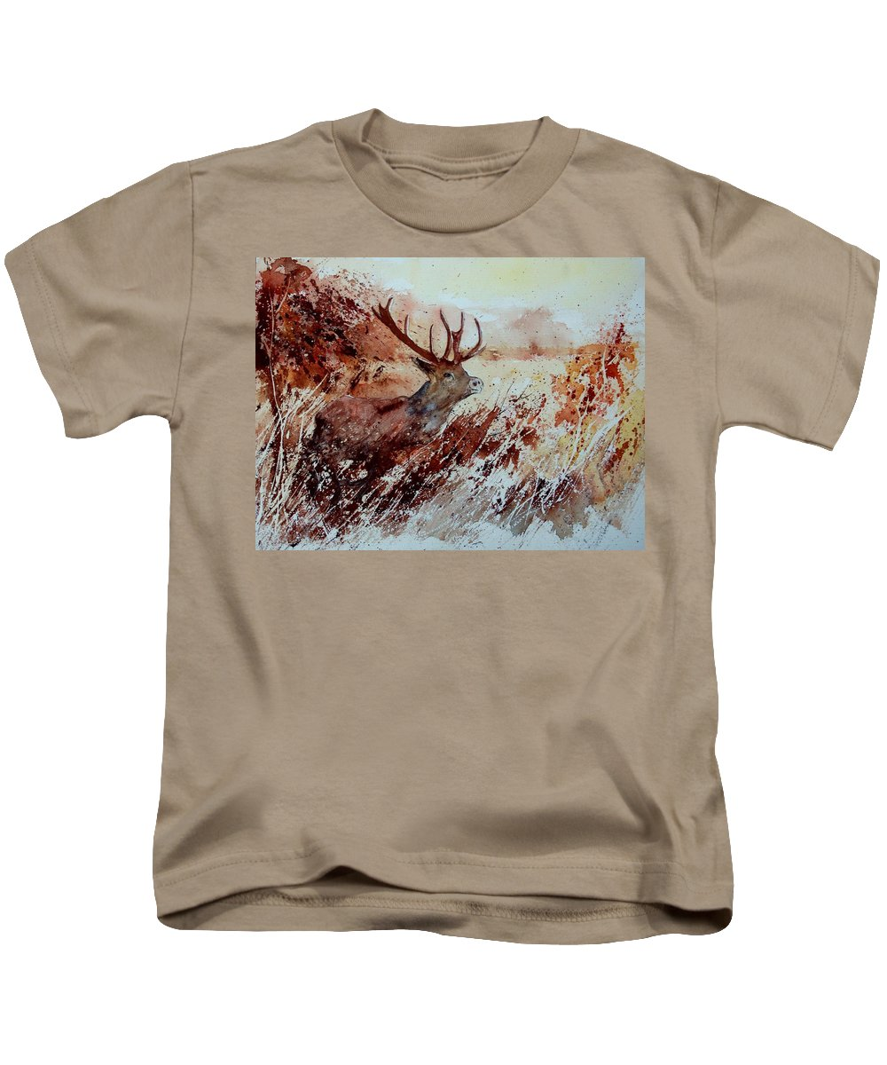 Animal Kids T-Shirt featuring the painting A Stag by Pol Ledent