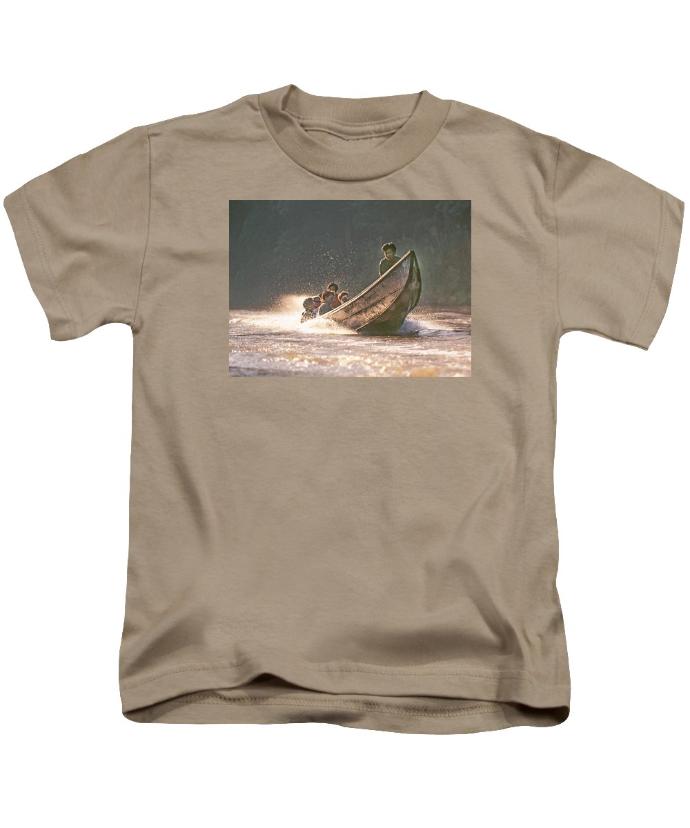 Ping River Kids T-Shirt featuring the photograph A Tigertail Boat On The Ping River by Buddy Mays