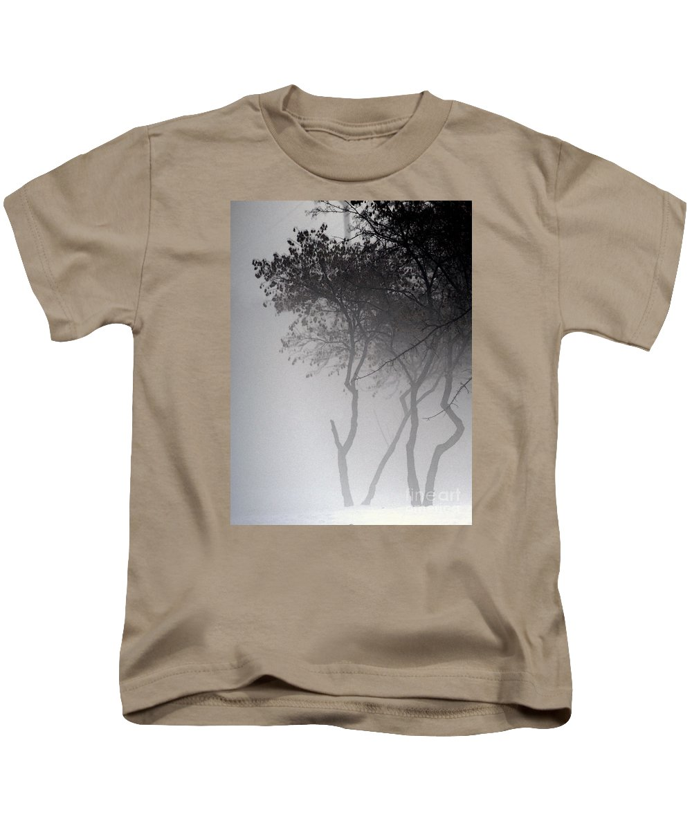 Trees Kids T-Shirt featuring the photograph A Walk Through The Mist by Linda Shafer