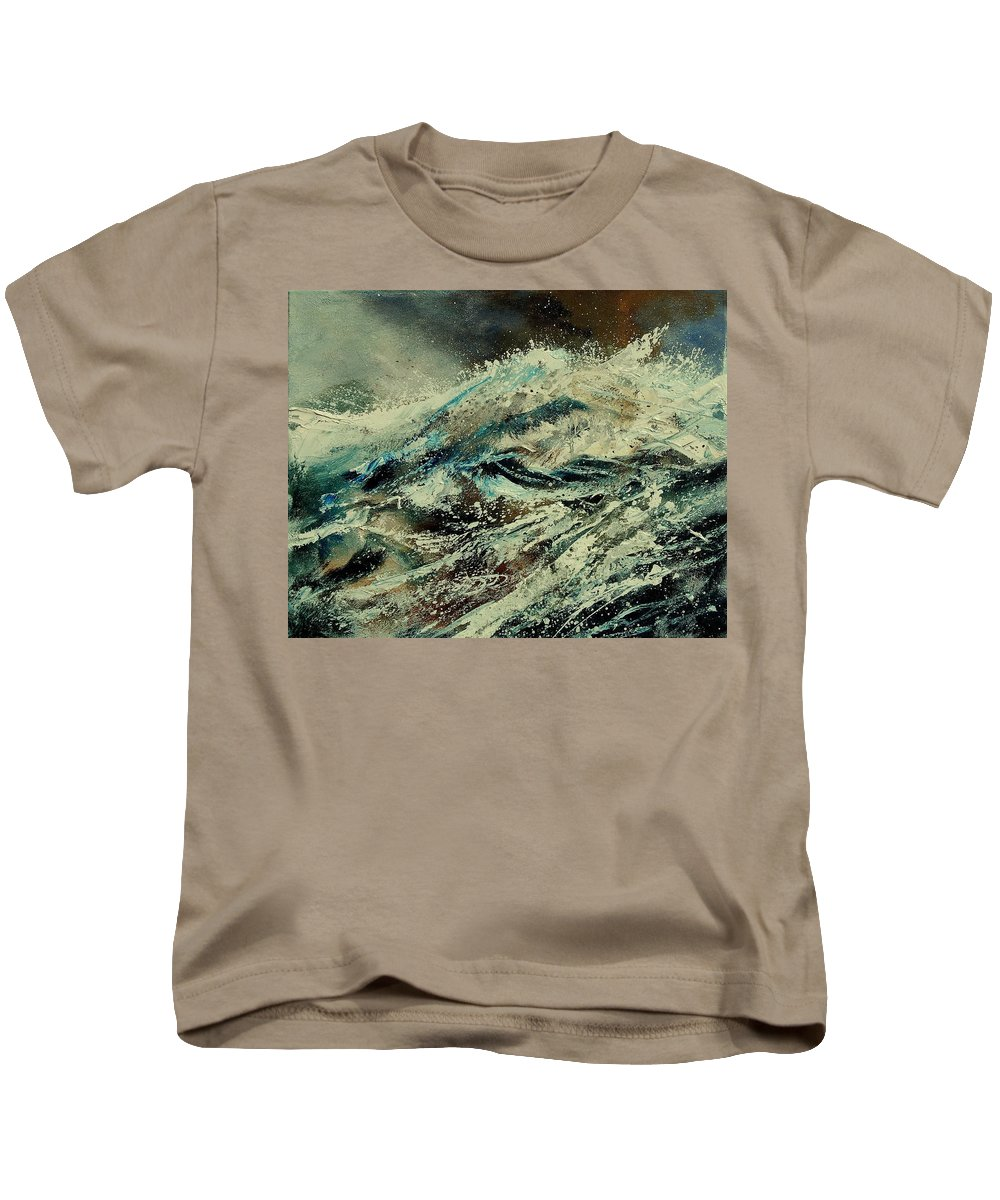Sea Kids T-Shirt featuring the painting A Wave by Pol Ledent