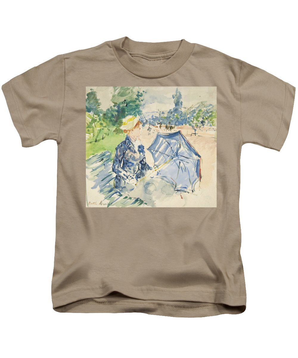 French Art Kids T-Shirt featuring the painting A Woman Seated At A Bench On The Avenue Du Bois by Berthe Morisot