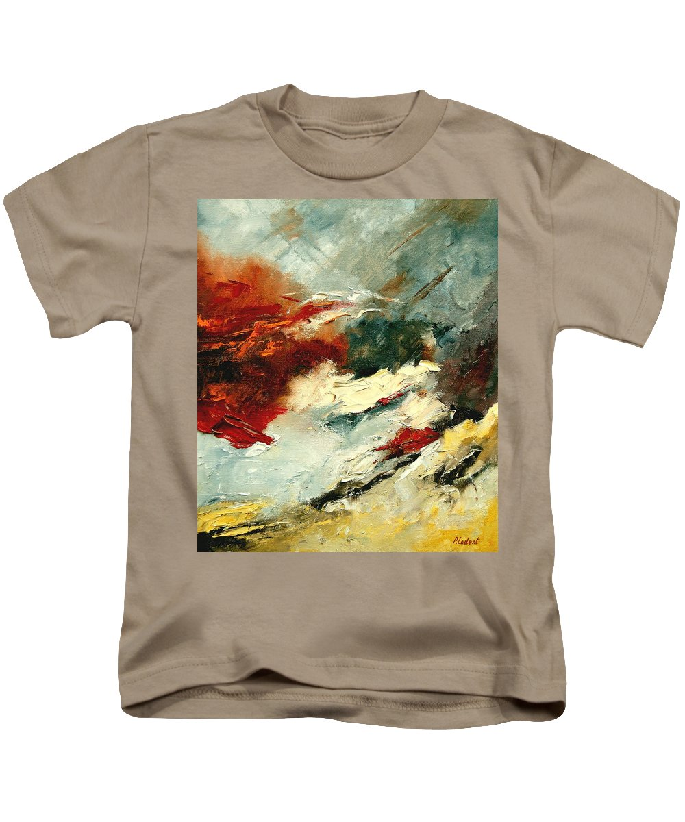 Abstract Kids T-Shirt featuring the painting Abstract 9 by Pol Ledent