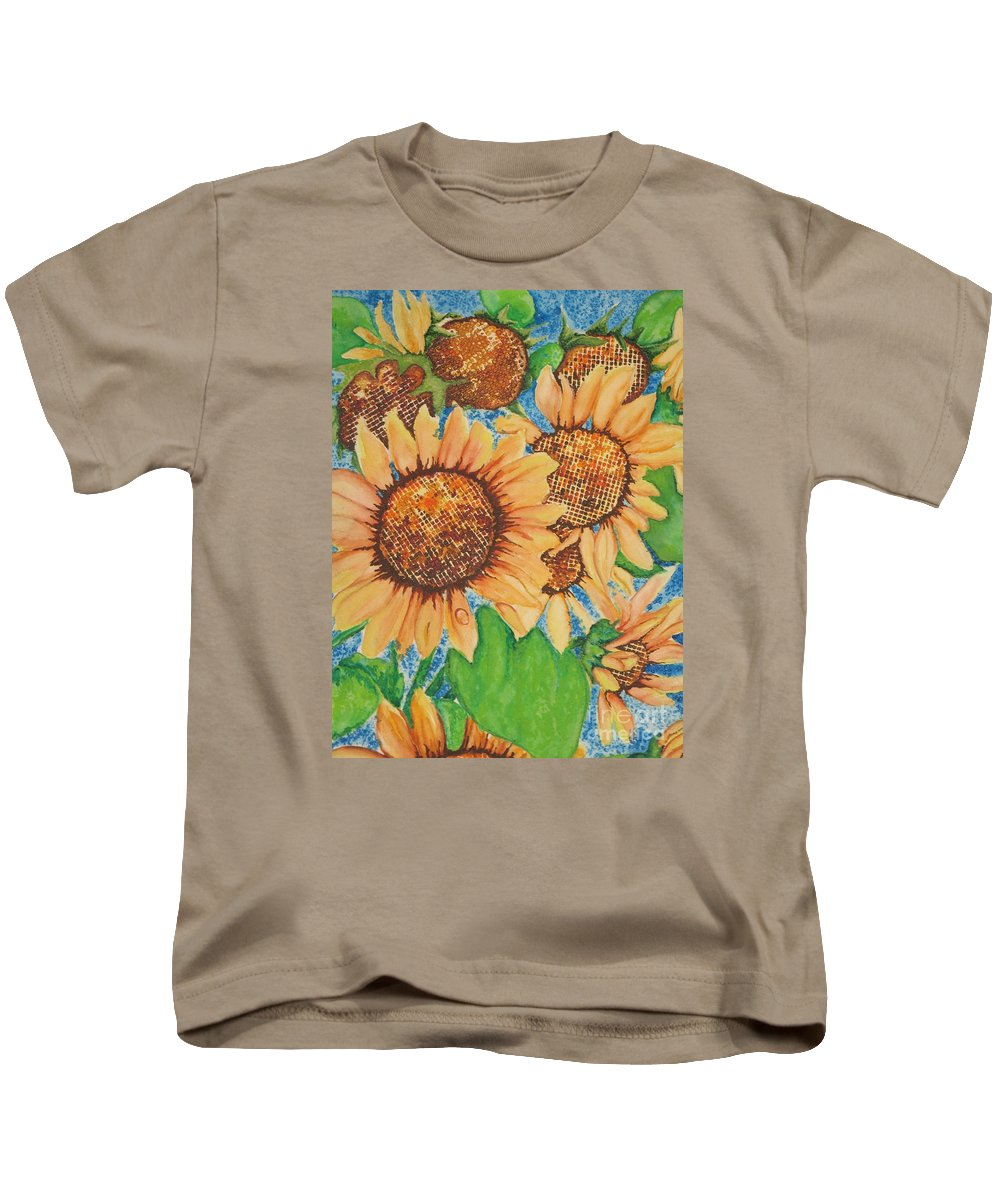 Fine Art Painting Kids T-Shirt featuring the painting Abstract Sunflowers by Chrisann Ellis