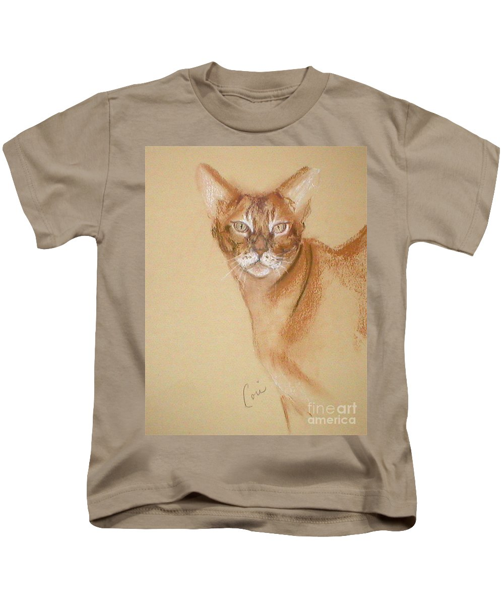 Pastel Kids T-Shirt featuring the drawing Abyssinian by Cori Solomon