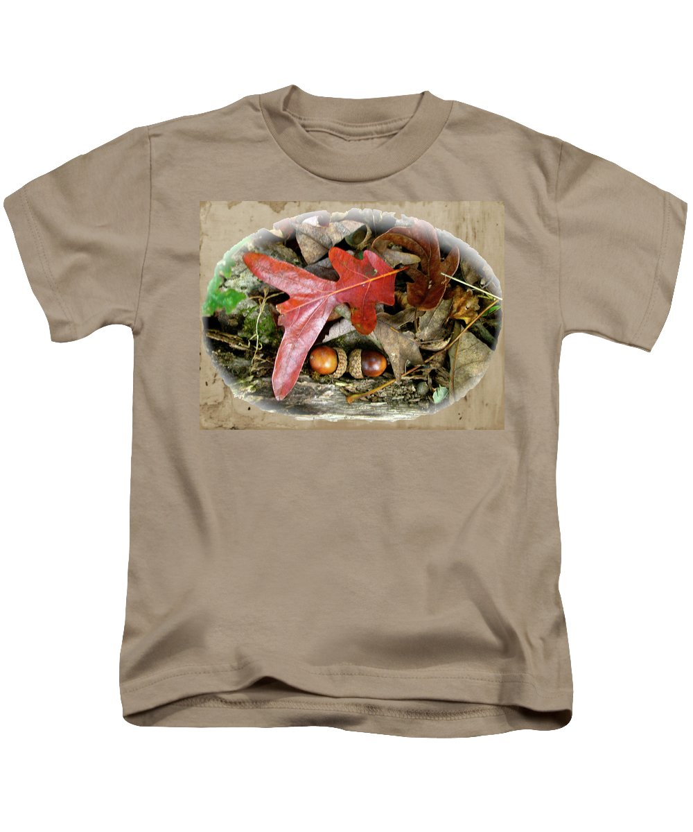 Acorn Kids T-Shirt featuring the photograph Acorns And Oak Leaves by Mother Nature
