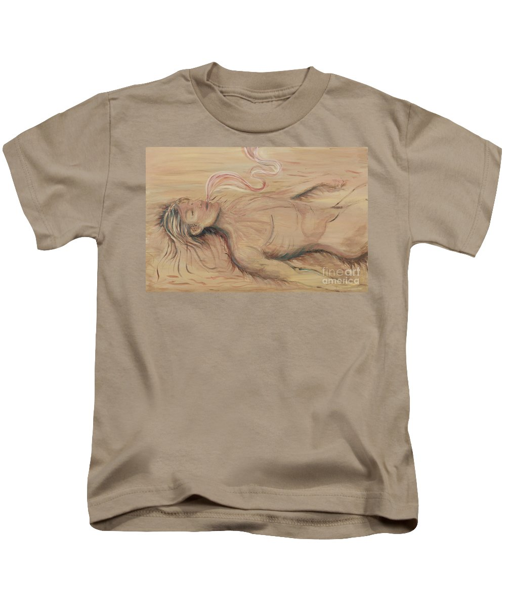 Adam Kids T-Shirt featuring the painting Adam And The Breath Of God by Nadine Rippelmeyer