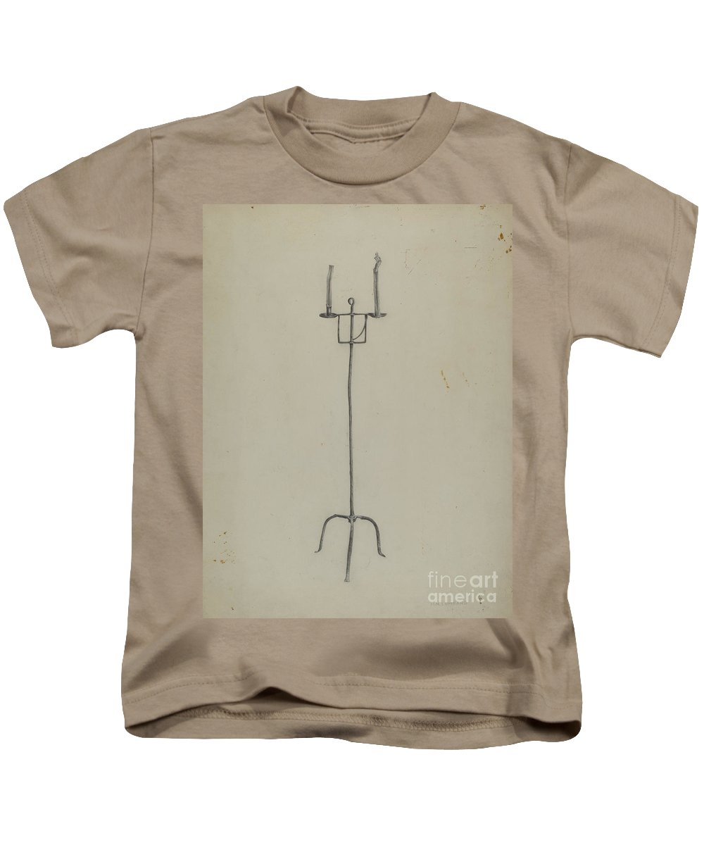 Kids T-Shirt featuring the painting Adjustable Candle Holder by Howard Lumbard
