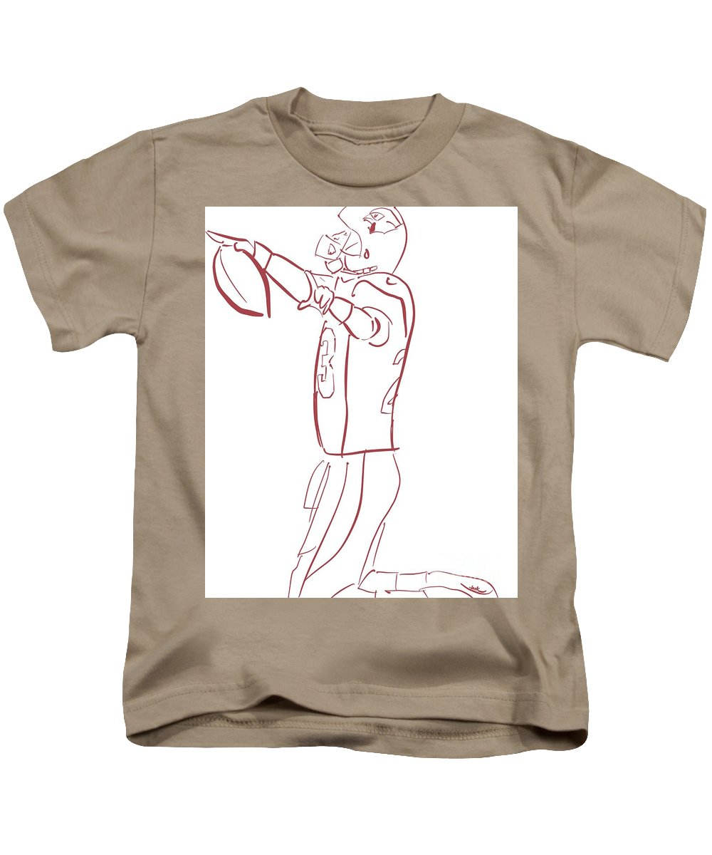 Ad Kids T-Shirt featuring the painting Adrian Peterson Cardinals by Jack Bunds
