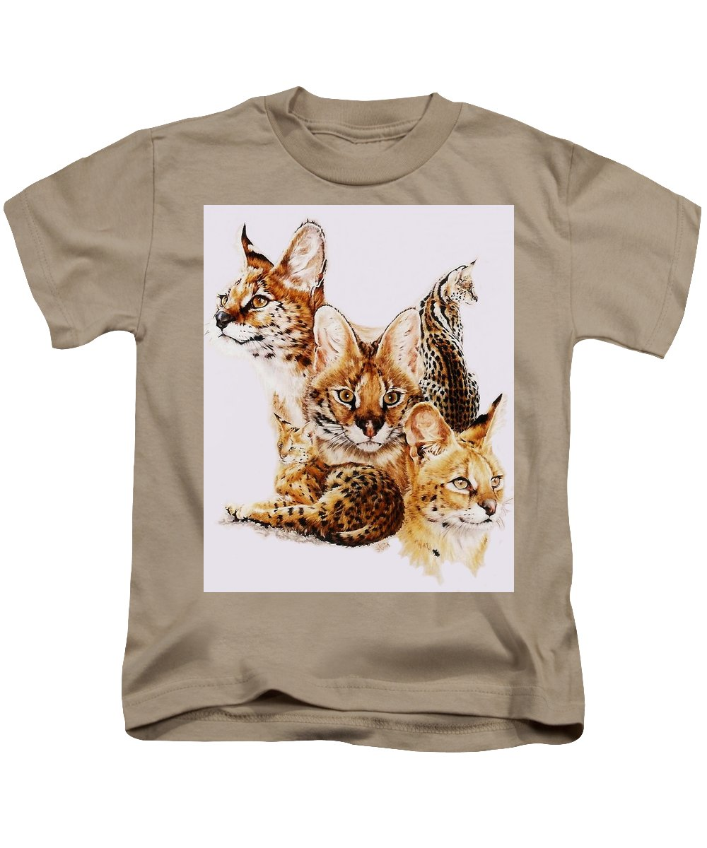 Serval Kids T-Shirt featuring the drawing Adroit by Barbara Keith