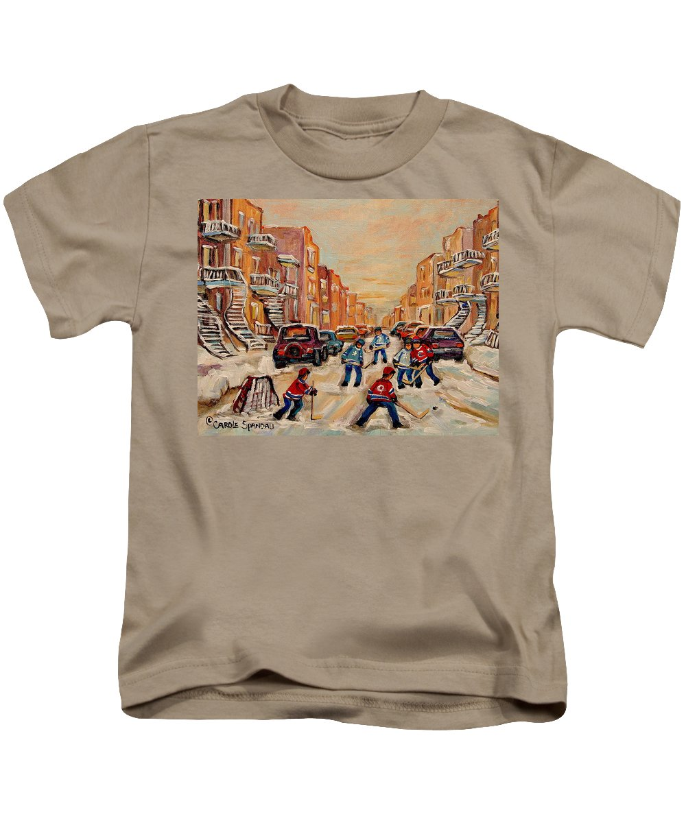 After School Hockey Game Kids T-Shirt featuring the painting After School Hockey Game by Carole Spandau