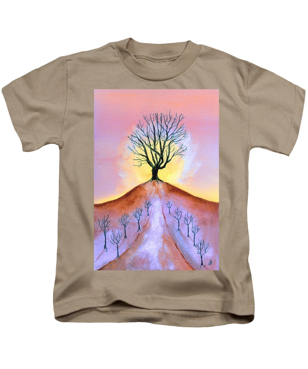 Watercolor Kids T-Shirt featuring the painting Aglow by Brenda Owen
