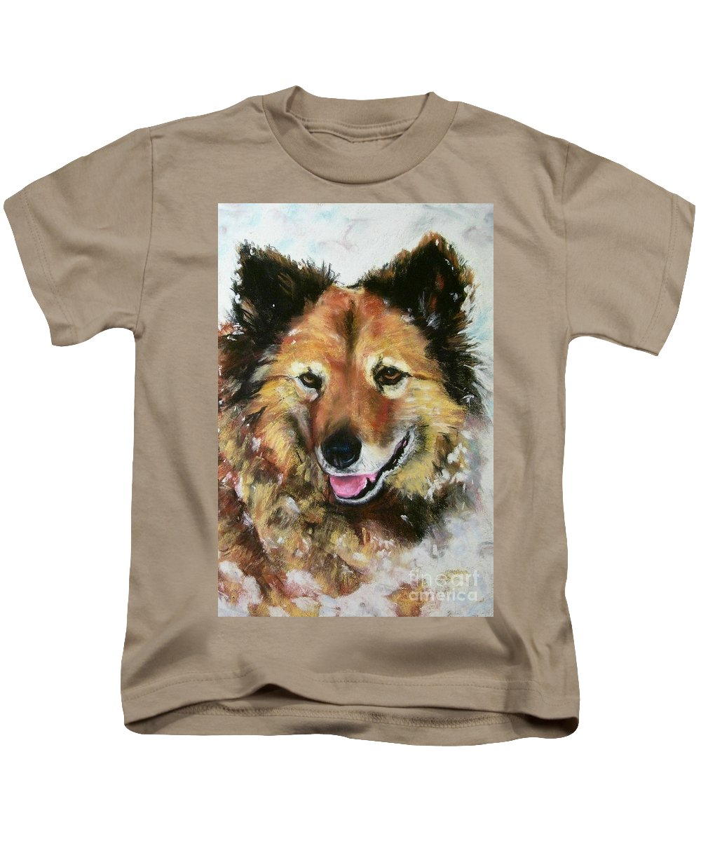 Dog Kids T-Shirt featuring the painting Akia by Frances Marino