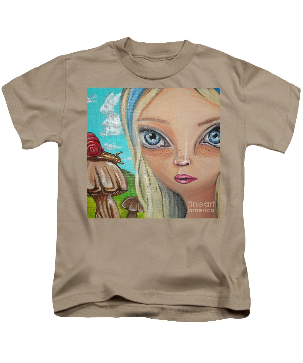Alice In Wonderland Kids T-Shirt featuring the painting Alice Finds A Snail by Jaz Higgins