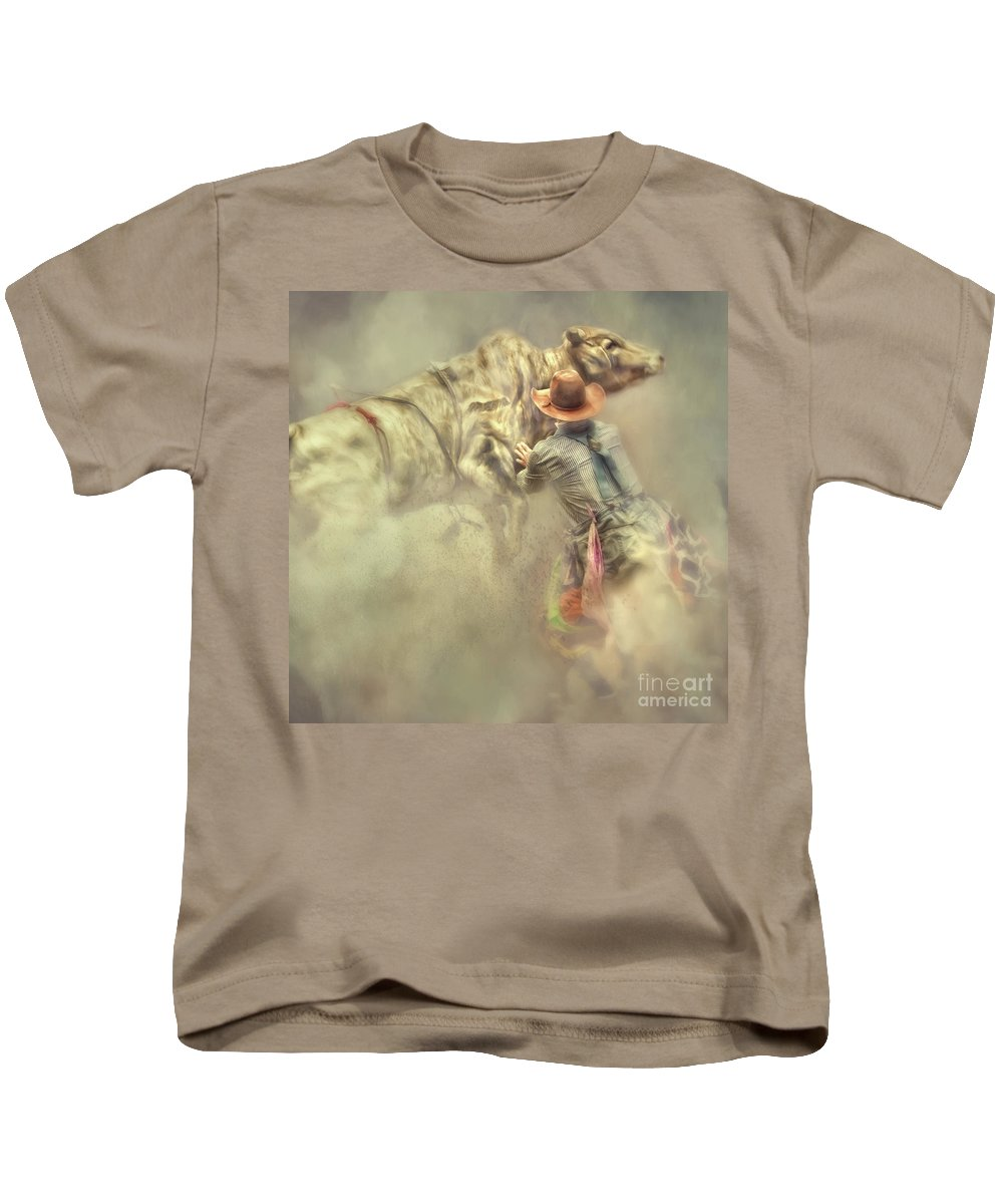Rodeo Clown Kids T-Shirt featuring the photograph All In A Day's Work by Jan Galland