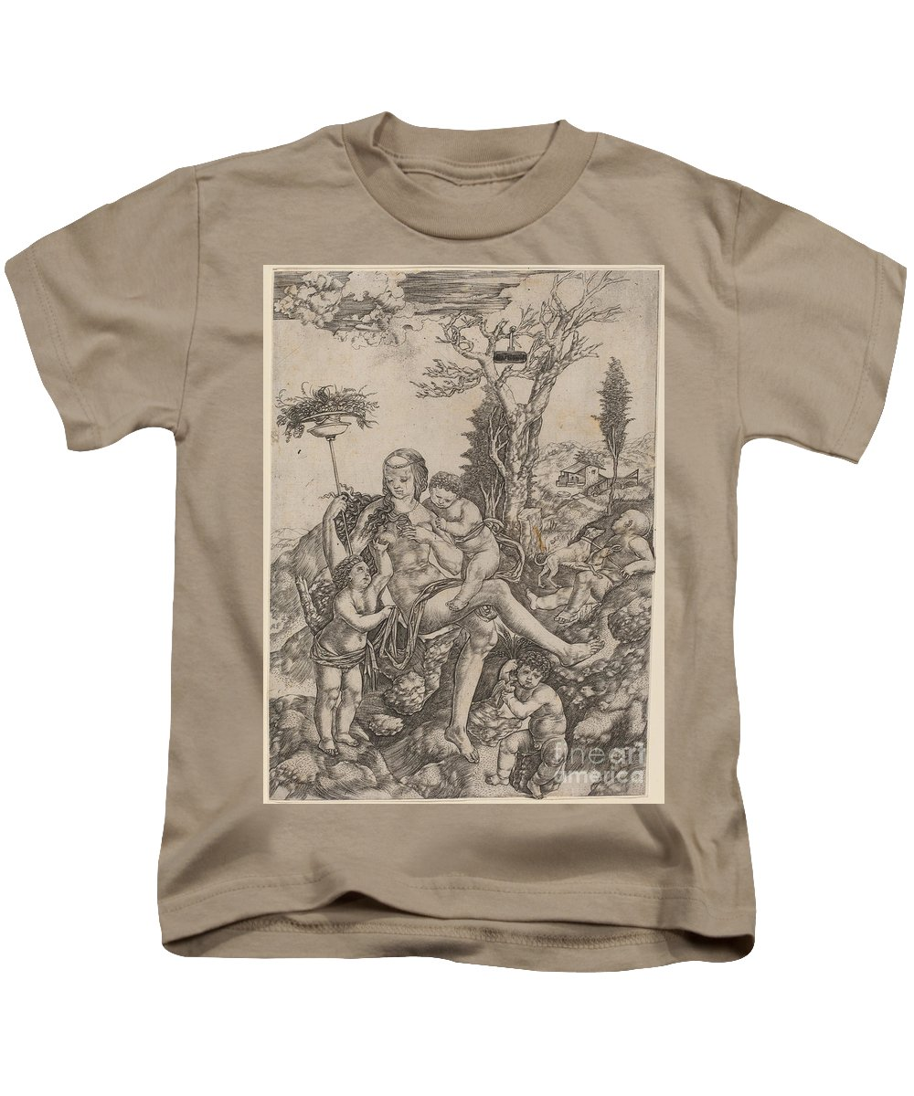 Kids T-Shirt featuring the painting Allegory Of Mother Earth by Christofano Robetta