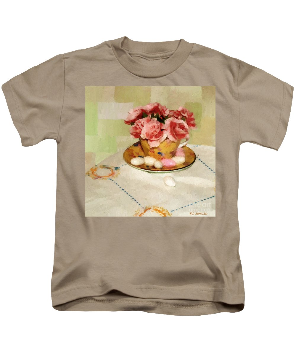 Almonds Kids T-Shirt featuring the painting Almond Blossom Tea by RC DeWinter