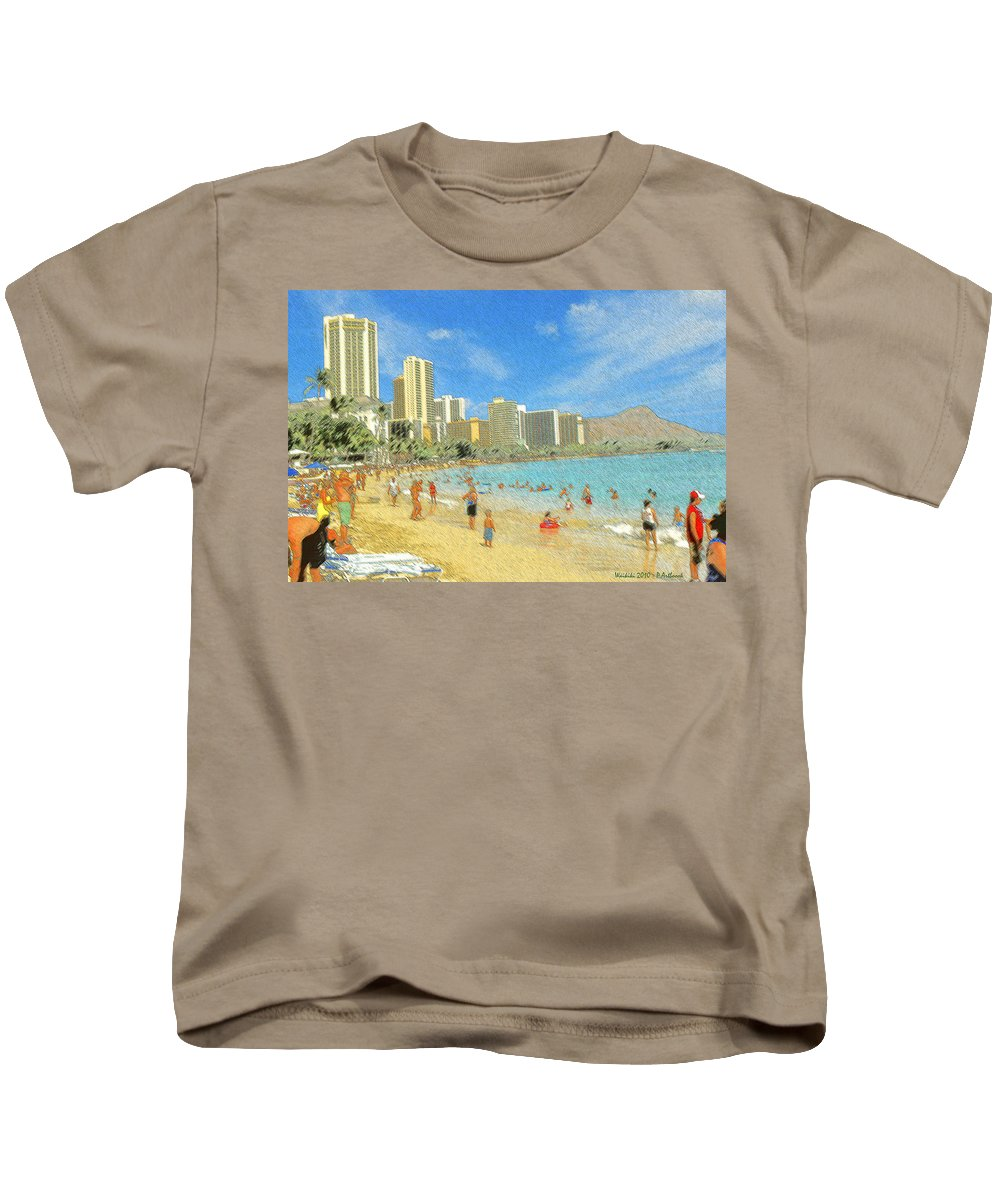 Honolulu Kids T-Shirt featuring the drawing Aloha From Hawaii - Waikiki Beach Honolulu by Peter Potter