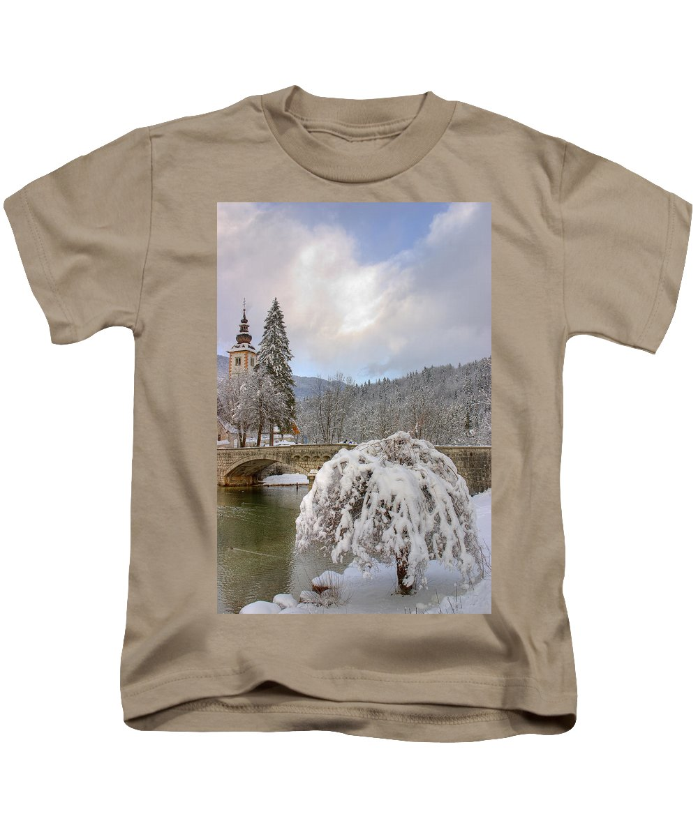 Bohinj Kids T-Shirt featuring the photograph Alpine Winter Beauty by Ian Middleton