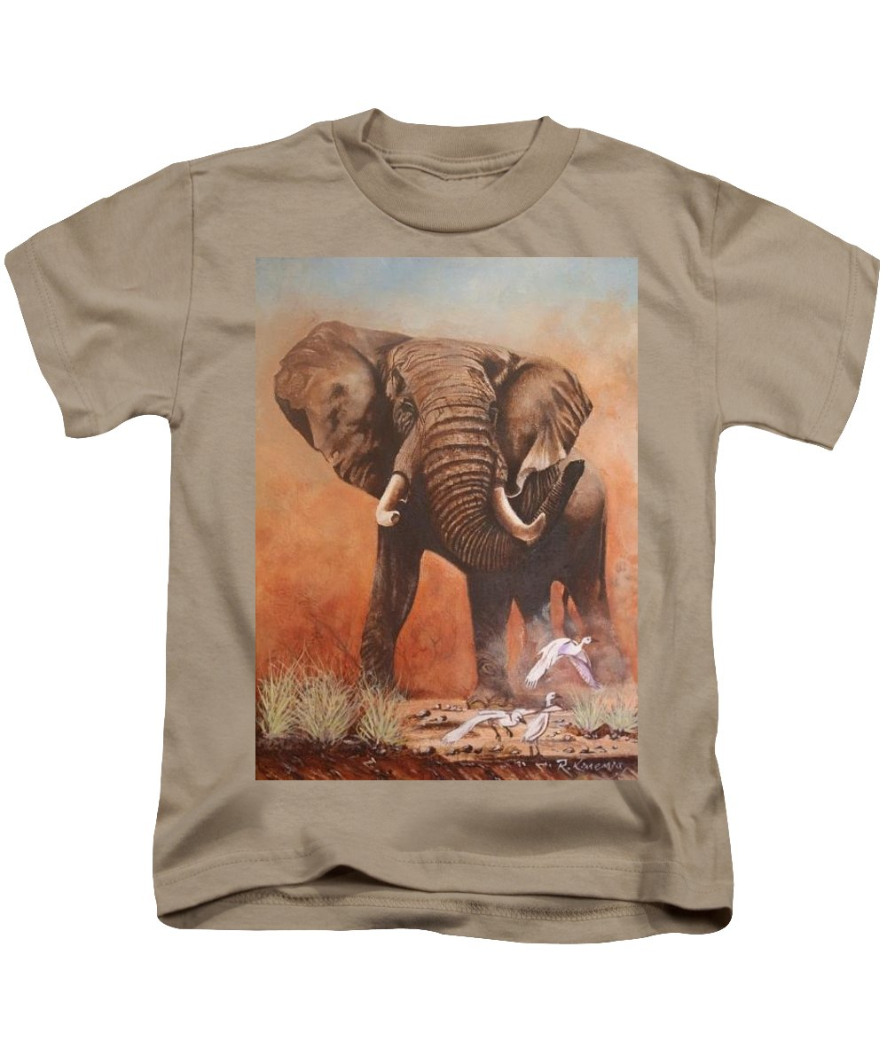 Amboseli Africa Kenya Elephant Kids T-Shirt featuring the painting Amboseli Elephant by Richard Kimemia