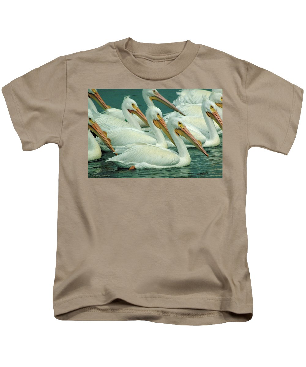 White Pelicans Kids T-Shirt featuring the photograph American White Pelicans by Bruce Morrison