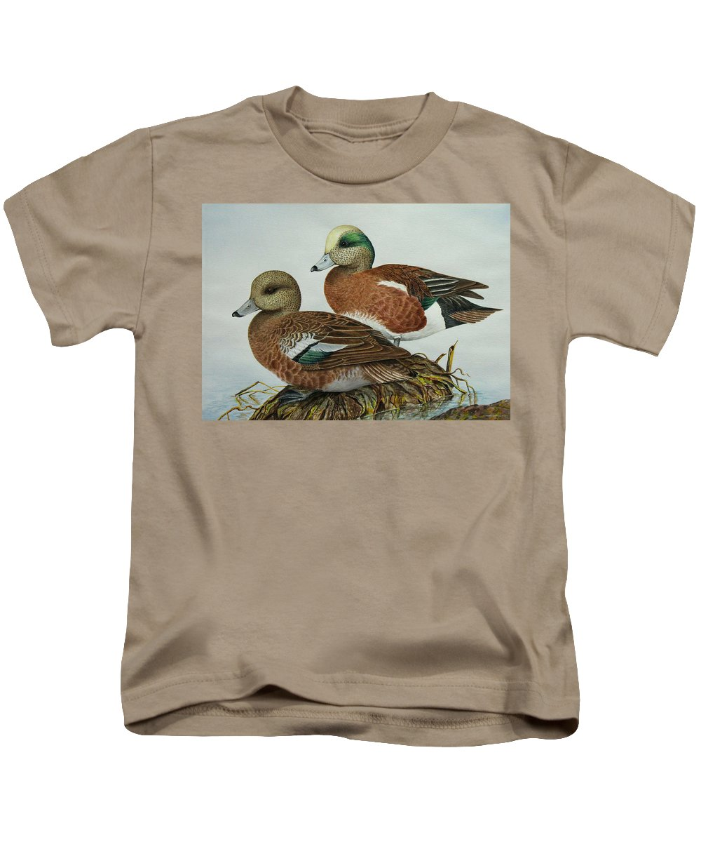 Ducks Kids T-Shirt featuring the painting American Widgeons by Elaine Booth-Kallweit