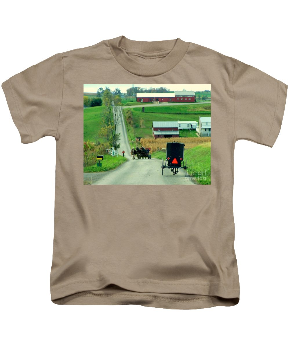 Amish Kids T-Shirt featuring the photograph Amish Horse And Buggy Farm by Charlene Cox