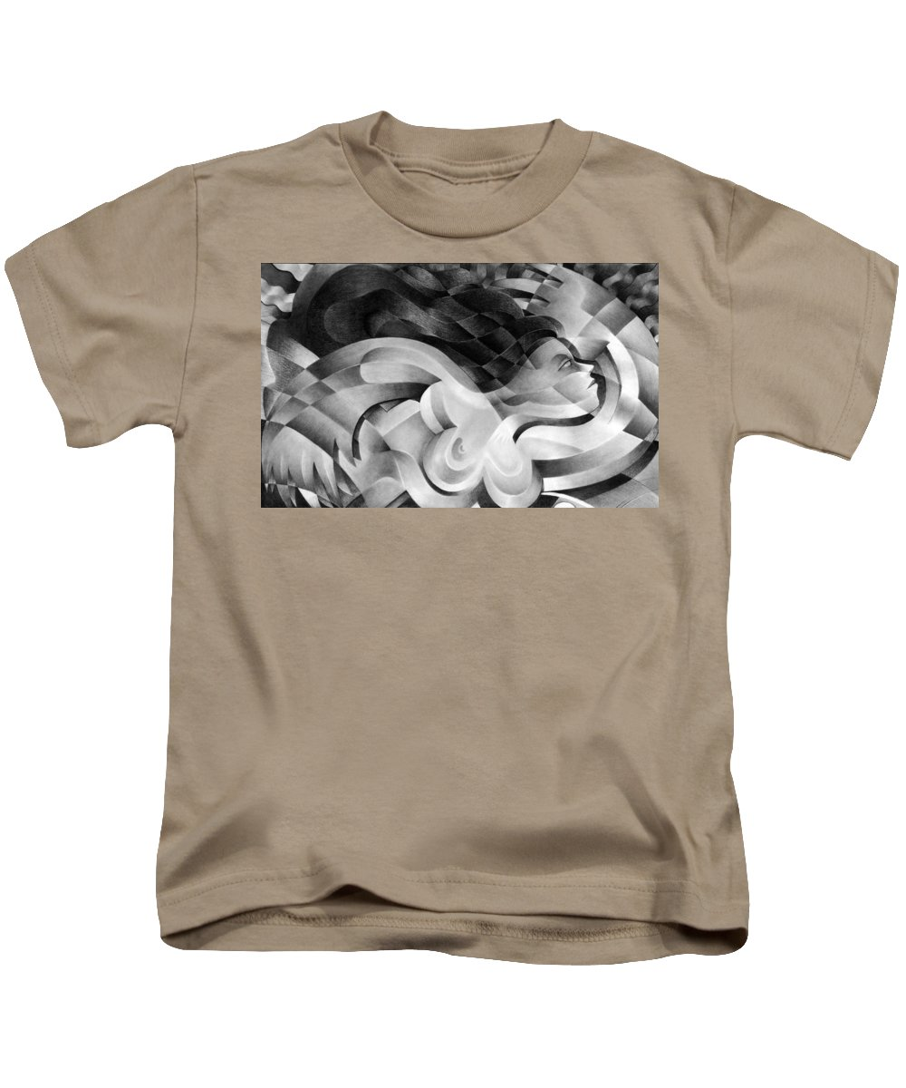 Art Kids T-Shirt featuring the drawing Amore by Myron Belfast