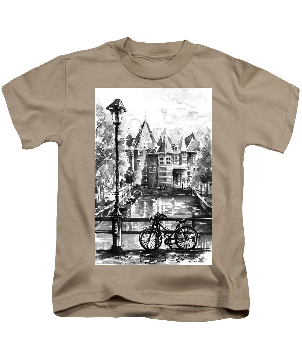 Watercolor Kids T-Shirt featuring the painting Amsterdam In Black And White by Georgi Charaka