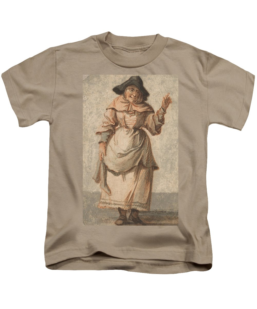 Paul Sandby Kids T-Shirt featuring the painting An Old Market Woman Grinning And Gesturing With Her Left Hand by Paul Sandby