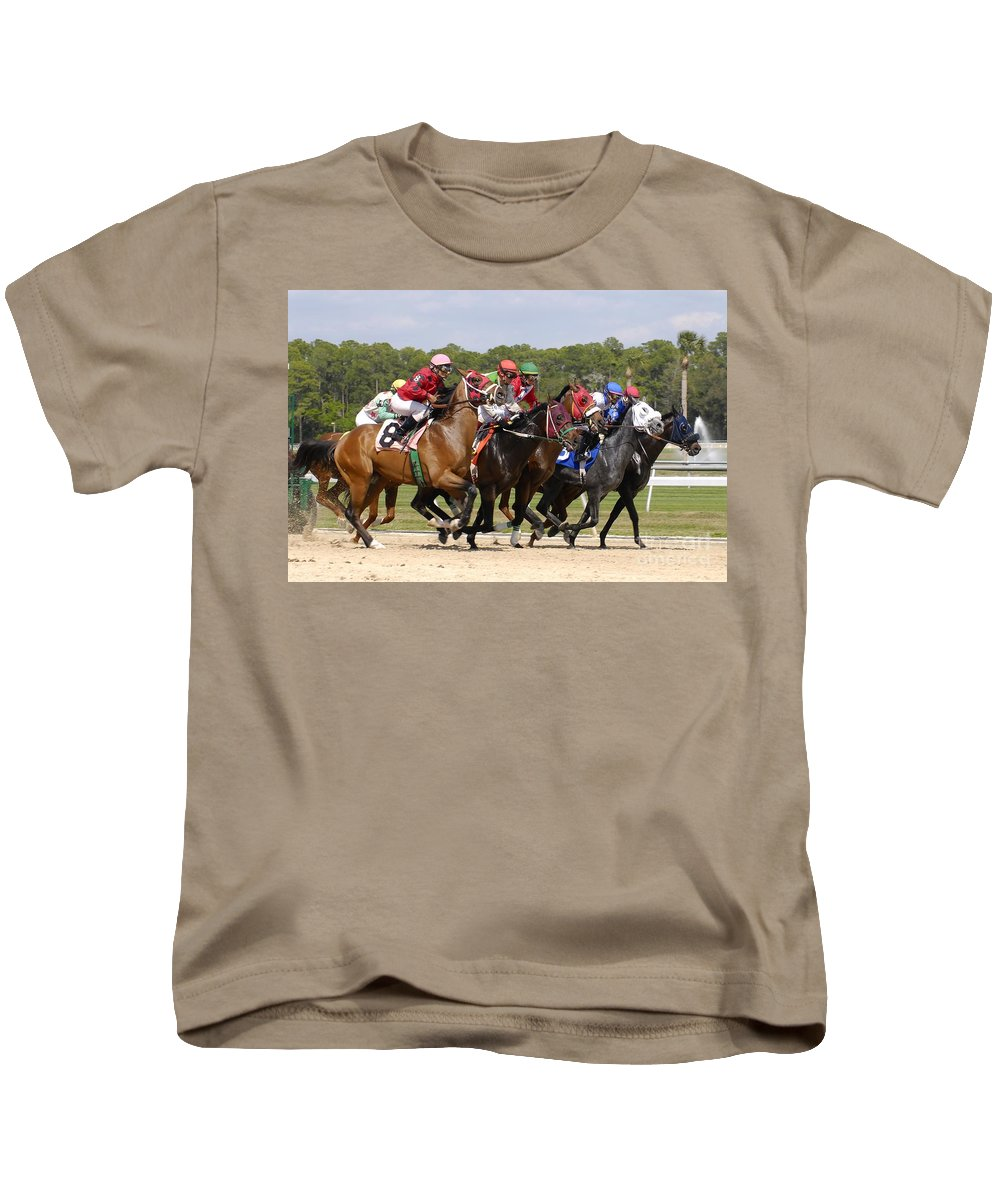 Horse Racing Kids T-Shirt featuring the photograph And Their Off by David Lee Thompson